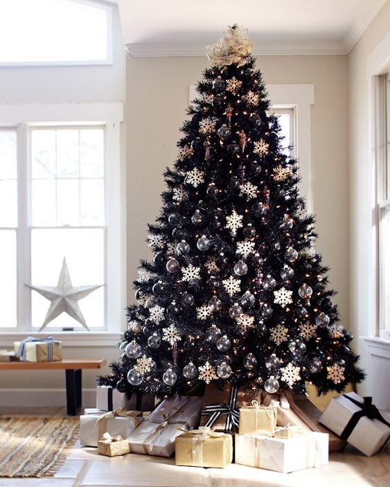 a chic black Christmas tree with sheer ornaments and white snowflakes plus a fabric cover on top plus piles of gifts is a lovely idea