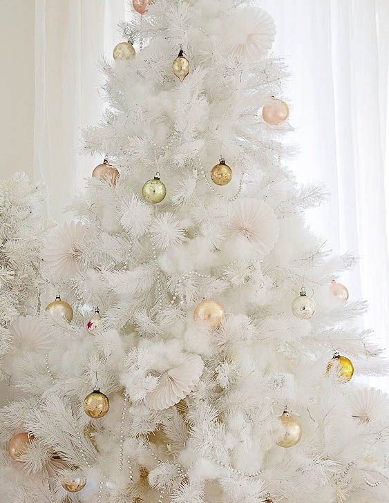 a pure white Christmas tree decorated with beads and gold Christmas ornaments is a very beautiful and stylish idea for holidays