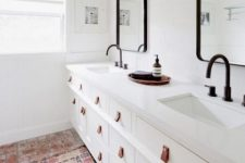 11 Ikea Hemnes sink cabinets spruced up with leather pulls are a gorgeous idea for a bathroom