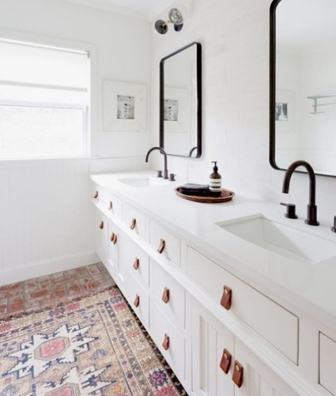 Ikea Hemnes sink cabinets spruced up with leather pulls are a gorgeous idea for a bathroom