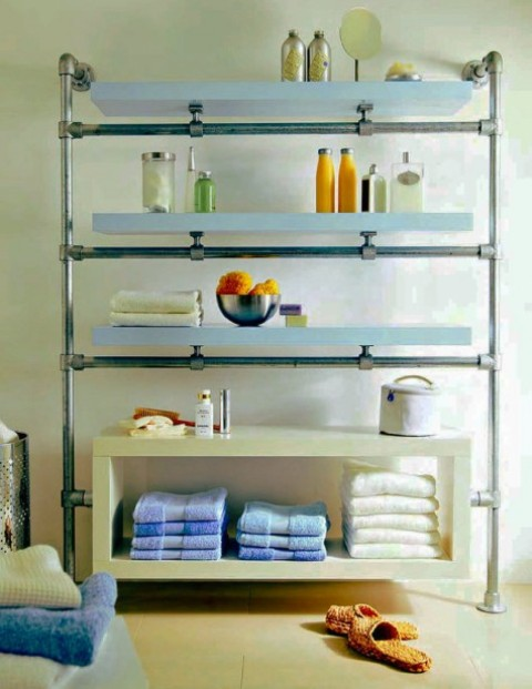 IKEA Lack shelves and galvanized pipe and fittings turned into a stylish and chic shelving unit