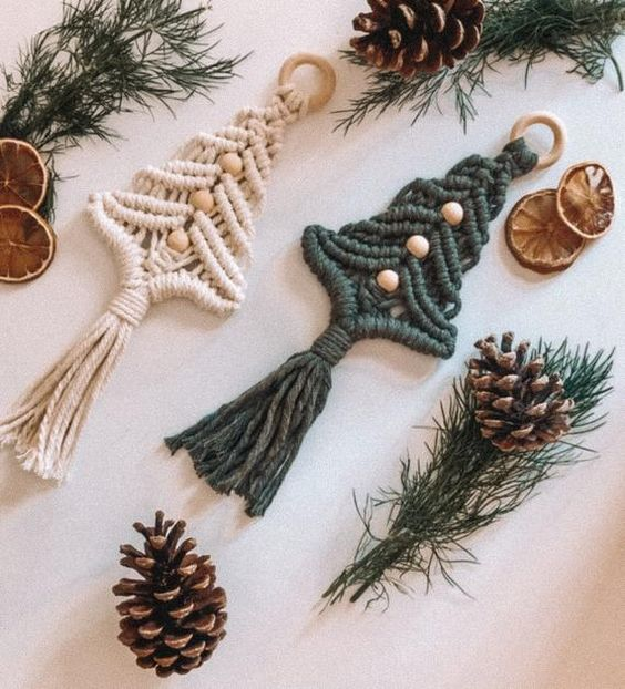 boho macrame Christmas tree ornaments with wooden beads and rings are great to use them anytime you want to add a free spirited touch