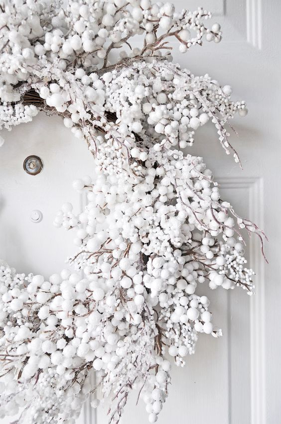 a white snowy Christmas wreath like this one will create a gorgeous winter wonderland feel, wherever you hang it