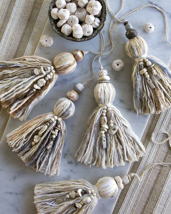 simple boho tassel ornaments of tassels with beads can be easily made by you - as many as you need to decorate the tree and the space