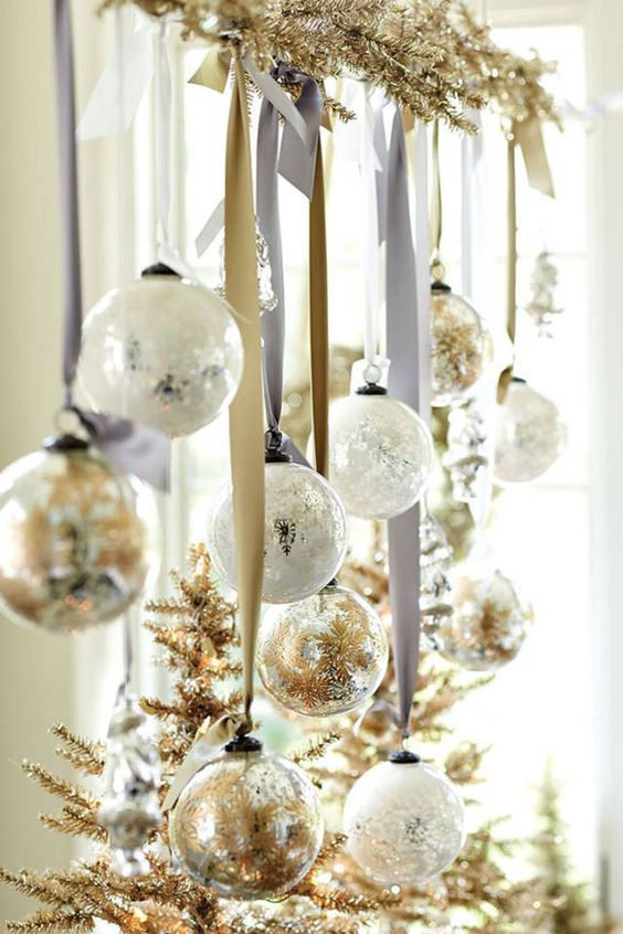 glam Christmas decor with gold fir branches, white and gold Christmas ornaments can be attached over the table
