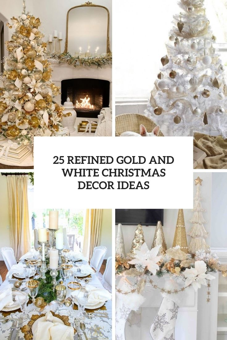refined gold and white christmas tree decor ideas cover