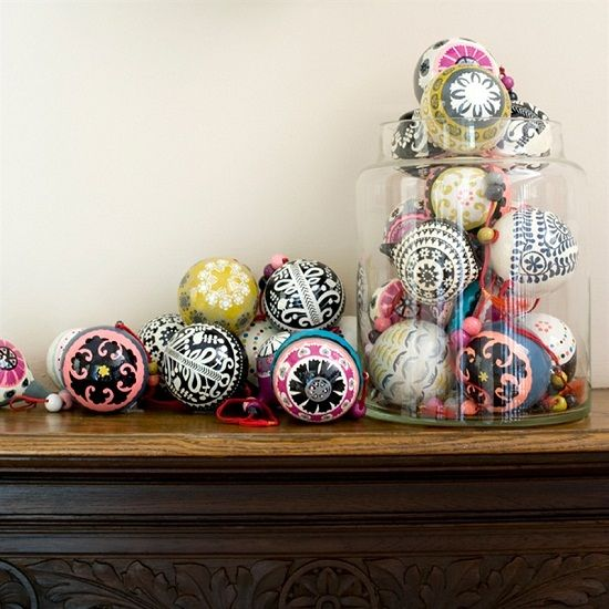 such colorful, whimsy and fun Christmas ornaments can be hung on your tree or displayed on the mantel in jars