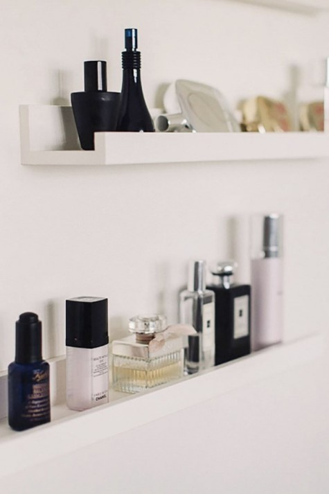 Mosslanda picture ledges used for storing small things in your bathroom, ideal for perfumery and for makeup too