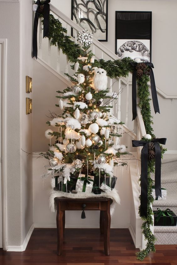 a beautiful and frozen tabletop Christmas tree decorated with faux snow, silver and white ornaments and some owls looks wow