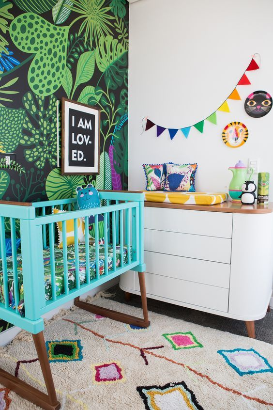 a bold looking tropical nursery design