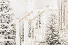 03 a beautiful winter entryway with lots of flocked Christmas trees in baskets and pots and with no decor is like walking in a snowy forest