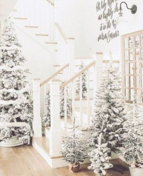 a beautiful winter entryway with lots of flocked Christmas trees in baskets and pots and with no decor is like walking in a snowy forest