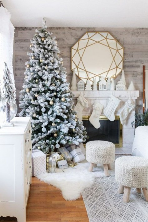 a frozen Christmas tree with metallic ornaments, knit stockings and stools and a faux fur throw for creating a winter wonderland feel