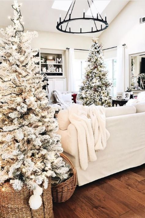 create a winter wonderland feel with just some flocked trees with lights in baskets and white textiles - that's easy