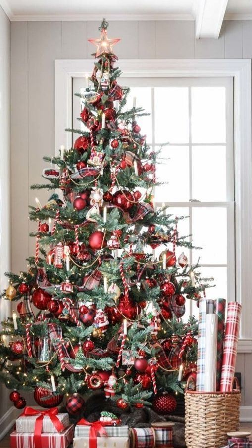 a vintage Christmas tree with candy canes, red ornaments, candles, beads is beautiful, chic and very refined