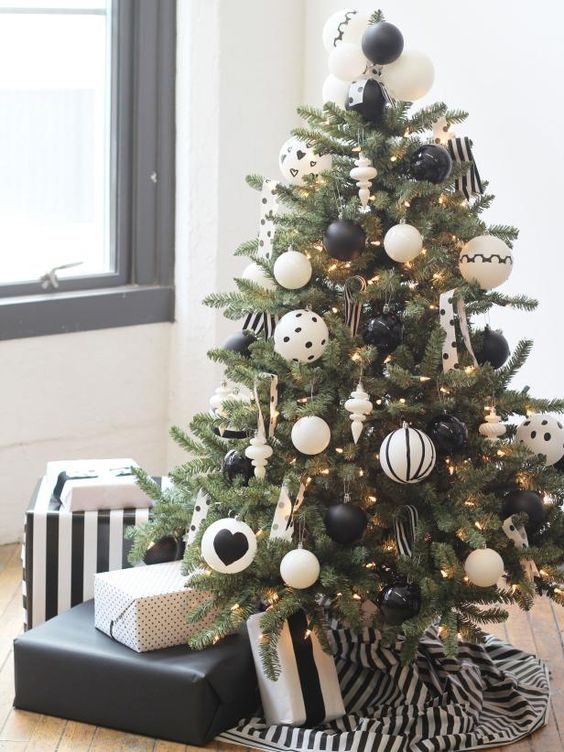 match the color of the tree skirt with the ornaments like here   black and white ornaments and a striped black and white skirt