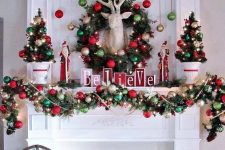 19 cozy and chic Christmas decor with red and green ornament garlands and a wreath, mini trees and lights, a deer head and red skates