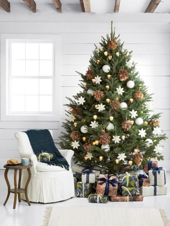 cover the base of your tree with lots of gifts or at least with gift boxes to have a natual and very festive look