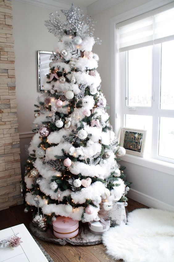 a Christmas tree with white faux fur, lights, white and pink ornaments, silver touches and chic round gift boxes under it