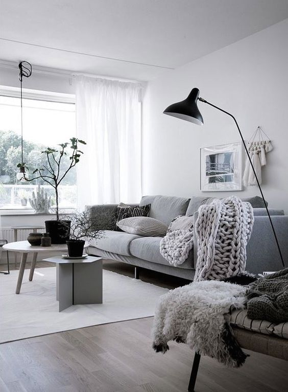 a cool Scandinavian living room with a grey sofa, a chair, mismatching mini tables, a black floor lamp and some plants