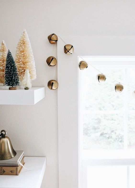 a simple bell garland can be used to decorate your window, railings or in any other space and you can make it anytime