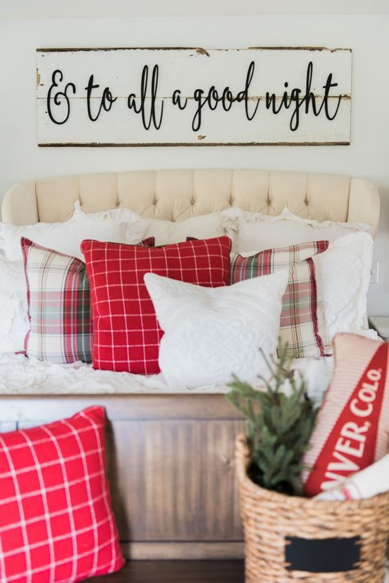 add some plaid ribbons to the bed and around it to easily bring a rustic and cozy feel to your bedroom, such touches are easy to add