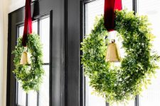 cool window Christmas wreaths from greenery