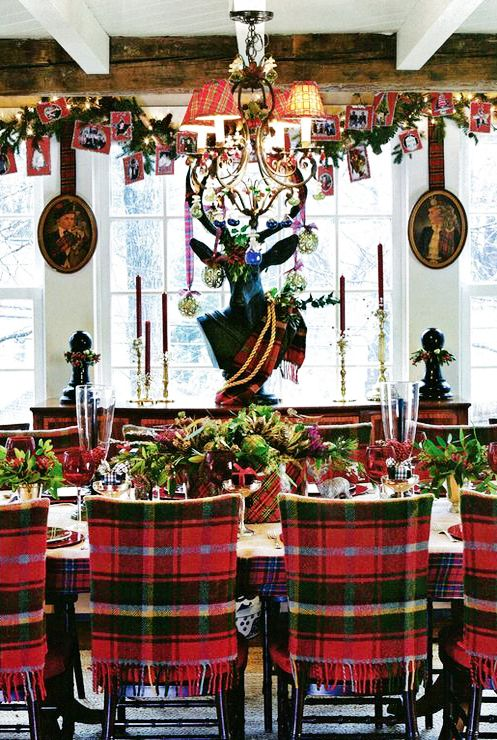 chairs covered with bold and bright plaid, a plaid box for a centerpiece is a cozy idea, traditional plaid balances whimsical decor around
