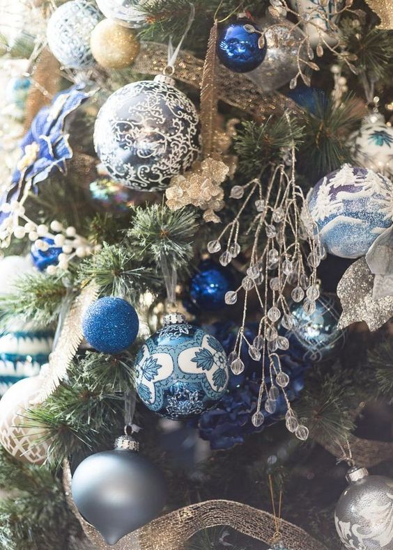 chic painted blue, silver and gold ornaments with glitter and crystals and gold ribbons for a fantastic Christmas tree