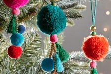 colorful pompom, tassel and bead Christmas ornaments are an easy craft that will infuse your Christmas tree with color