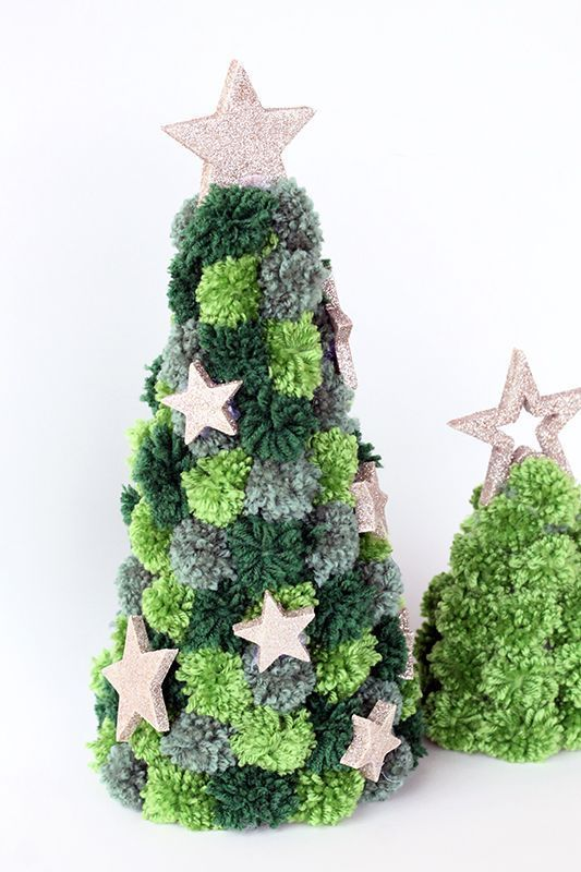 cool and simple grey and green pompom Christmas trees with glitter stars are great for holiday decor