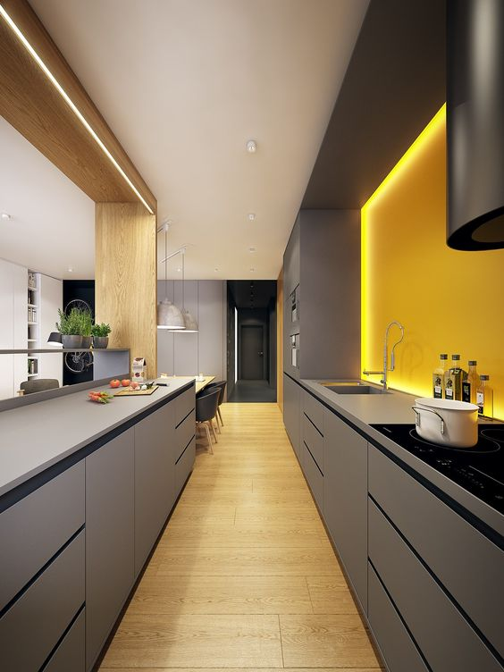 a bold minimalist kitchen with sleek grey cabinetry and a sunny yellow lit up backsplash for a bright look