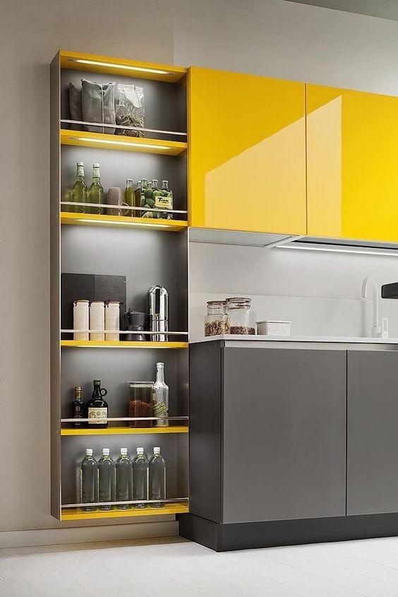 a bright minimalist kitchen with sleek yellow and grey cabinetry and a light grey backsplash looks cool and very chic