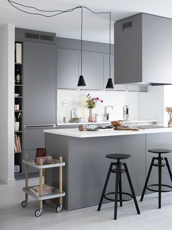 a contemporary Scandinavian kitchen with sleek grey cabinetry, white countertops and a backsplash, black pendant lamps and stools