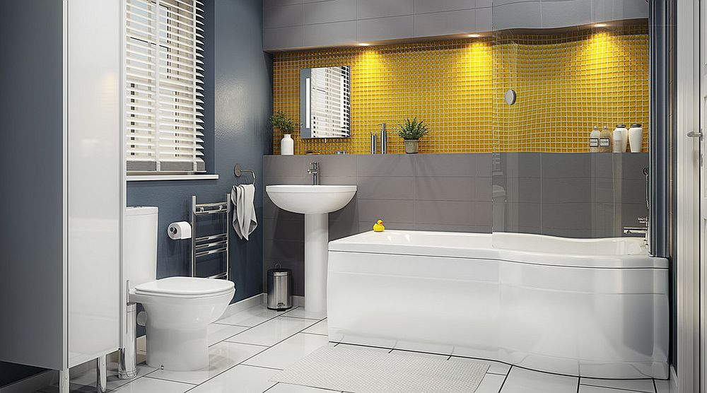 a contemporary bathroom done with grey walls, white appliances, a yellow tile backsplash and chic mirrors
