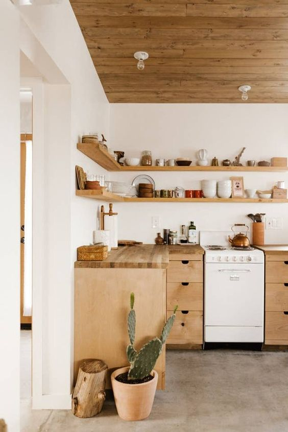 a desert-themed L-shaped kitchen with stone countertops and open shelves instead of upper cabinets plus potted cacti