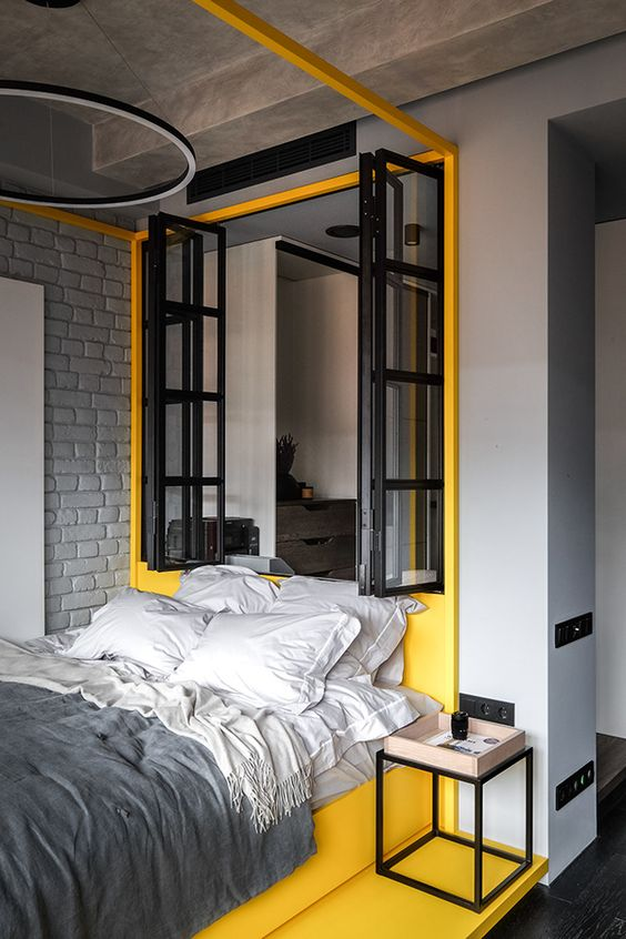 a quite stylish industrial bedroom design