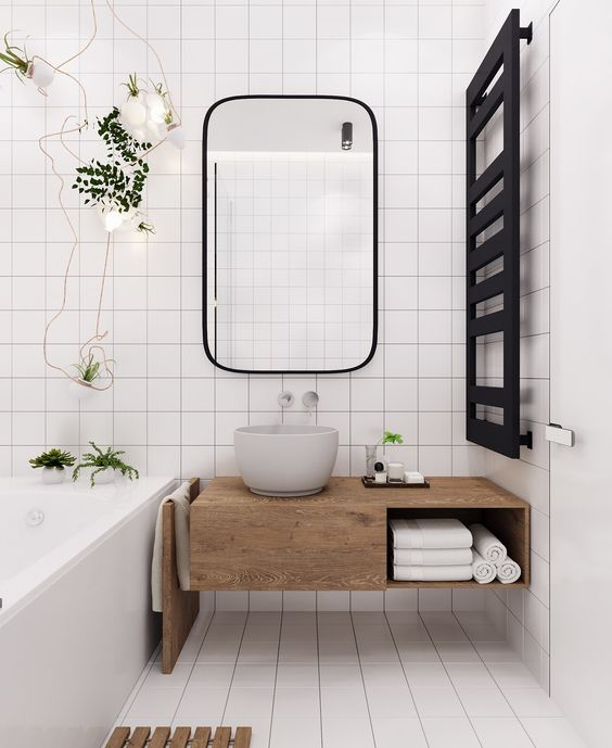 a small serene bathroom design with hygge in mind
