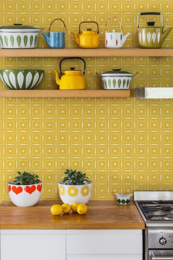 a bright mustard printed backsplash will bring a bright and cheerful touch to the space and make it fun