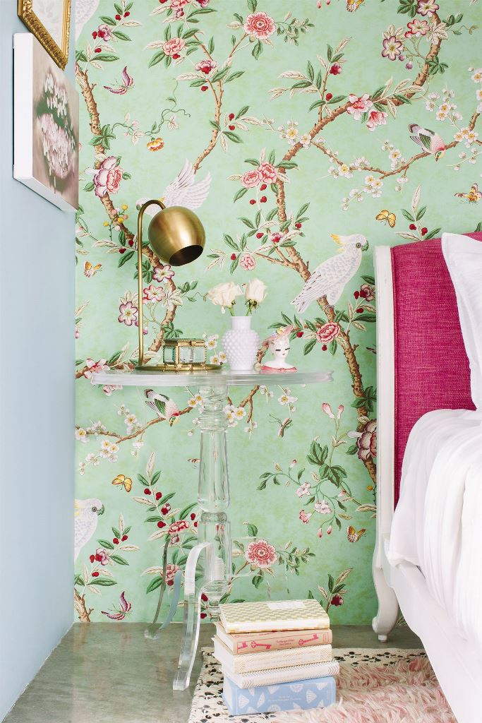 bright green flora and fauna wallpaper will accent your bedroom and make it feel refined, spring or summer-like