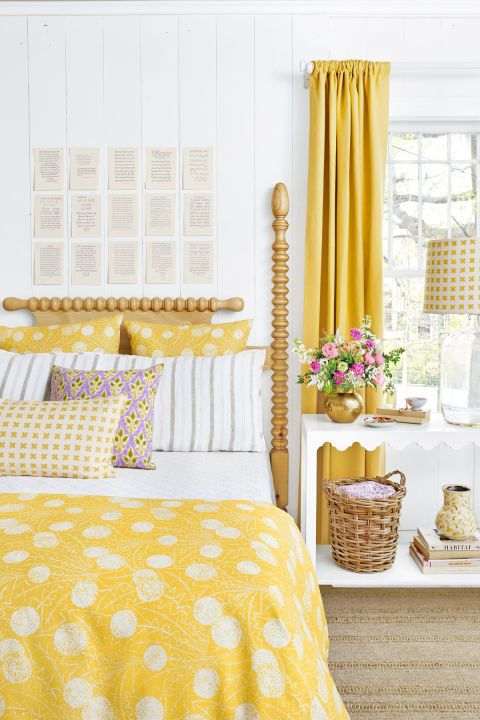 bold yellow polka dot bedding and yellow curtains will fill your bedroom with sunshine and make it welcoming and warm
