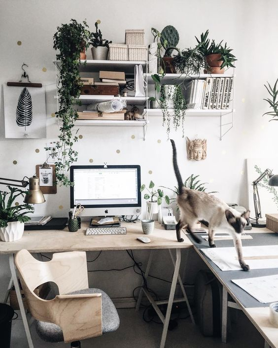 a non-minimalist Scandinavian home office design