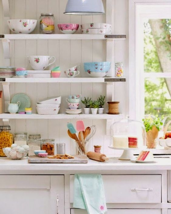 pastel tableware and bowls and plates are a lovely idea for a modern spring kitchen, they bring a pretty and fresh feel