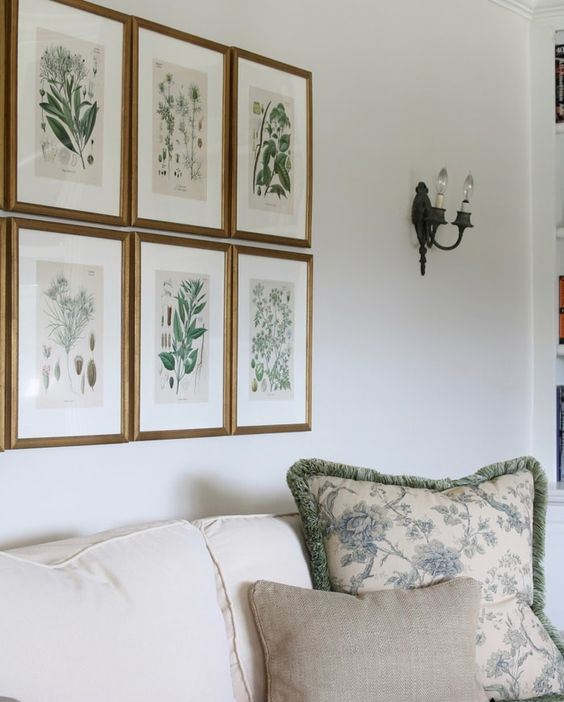 a gallery wall with same size frames