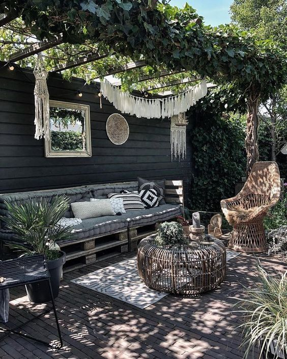 a boho spring terrace design