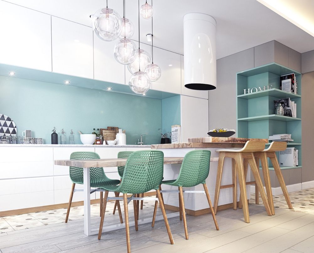 a chic contemporary kitchen with white sleek cabinets, an aqua blue glass backsplash, a kitchen island with a dining zone with green chairs