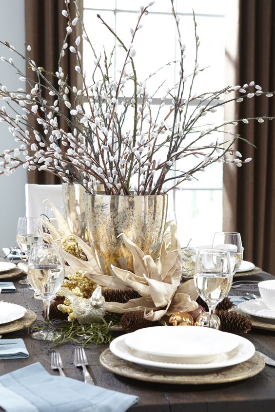 a gold leaf vase with willow is a gorgeous refined yet simple spring centerpiece to rock, and it's fast to make