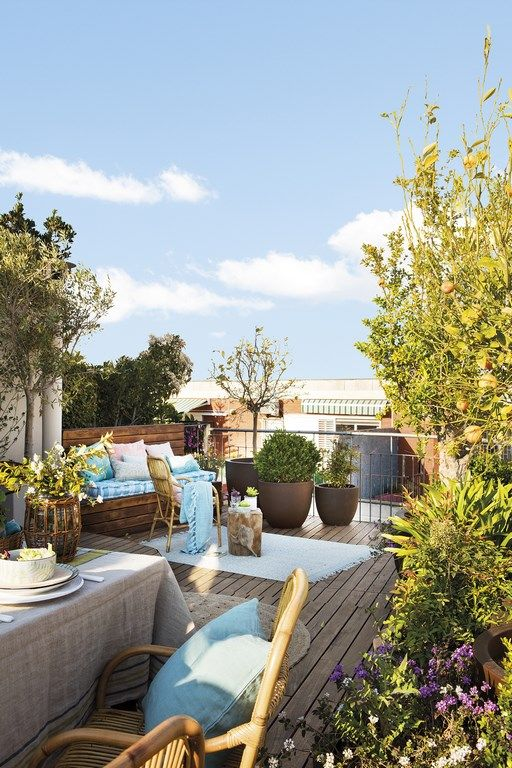 a gorgeous spring terrace with a bench with blue textiles, a set up table with rattan chairs, potted greenery and trees
