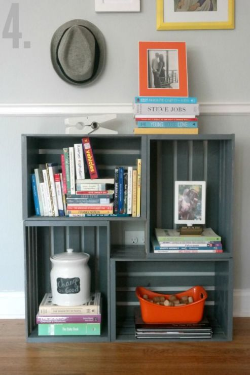 a graphite grey crate storage unit for a living room or any other space, it can be used for anything you want