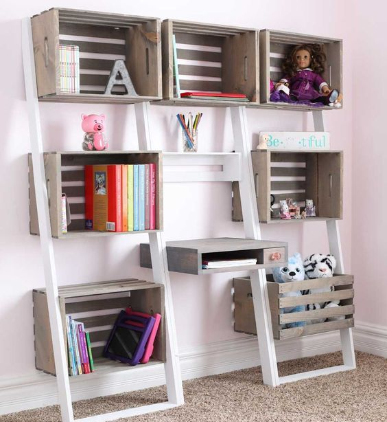 a large crate storage unit is composed of various shelves and can be used in any living room